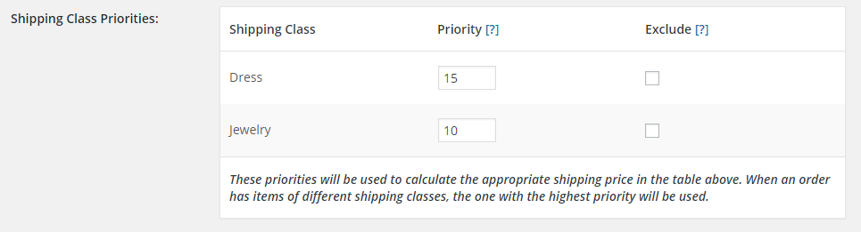 shipping class priorities