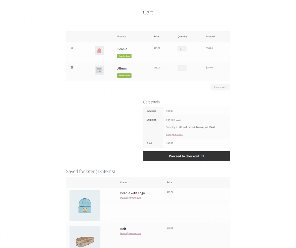 Save for Later Cart Page